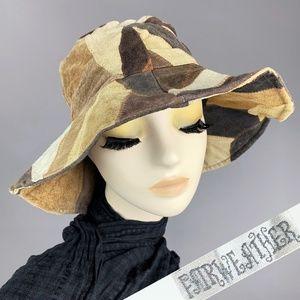 Vintage 1970s Leather Suede Patchwork Floppy Hat